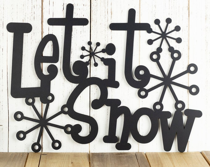 Rustic Let It Snow Metal Sign, Outdoor Metal Wall Art, Farmhouse Decor, Christmas Gift