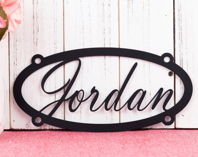 "Custom Sign Metal Name Wall Art | Metal Name Sign | Metal Wall Art | Custom Sign Outdoor | Personalized Sign | Matte Black shown | 10.5""x5""H"