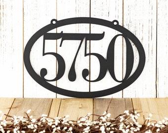 House Number Sign | Metal Address Plaque | Outdoor Hanging House Number | Oval | Metal House Numbers | Metal Sign | Address Sign