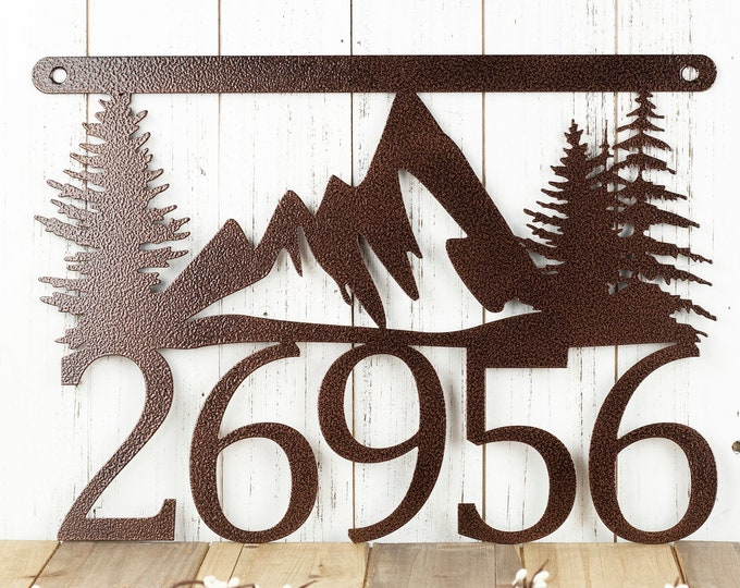 Custom Metal House Number Sign with Mountains, Outdoor Address Plaque, Housewarming Gift, Farmhouse Decor