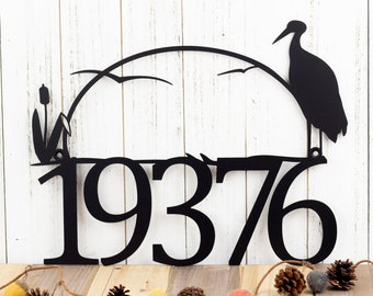 Outdoor House Number Metal Sign with Heron and Cattails - Black, 17x13, Custom Sign, Address Sign, Outdoor Sign