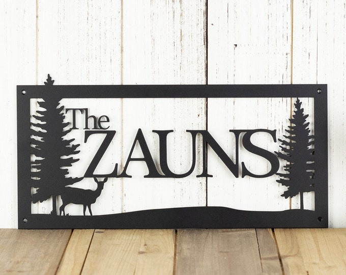 Custom Family Name Sign - Custom Metal Wall Art - Log Cabin Decor