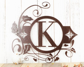 Monogram Metal Sign - 13.5x12.5, Monogram Wall Art, Monogram, Monogram Wall Hanging, Metal Letter, Outdoor Sign