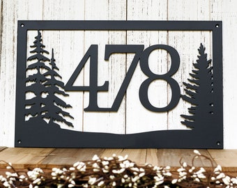"""Rustic Metal House Number Sign with Pine Trees 