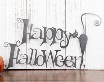 Happy Halloween Metal Sign | Cat | Halloween Sign | Sign | Halloween Decor | Outdoor Sign | Metal Wall Art | Wall Hanging