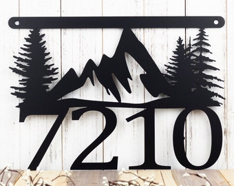 Mountain House Number Metal Sign | Address Sign | Address Plaque | House Numbers | Metal Wall Art | Mountains | Custom Sign