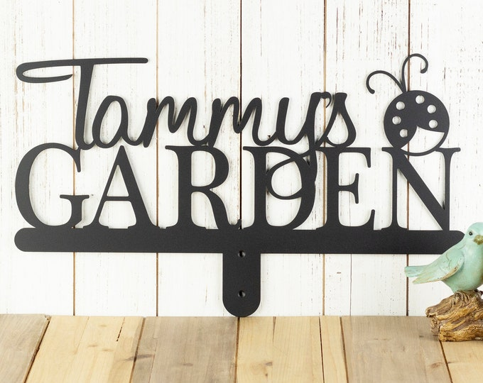Personalized Sign | Custom Garden | Metal Sign | Gift For Her | Name Sign | Custom | Gift | Garden Name Sign | Garden Decor | Ladybug