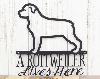 Rottweiler Sign, Dog Wall Art, Outdoor Metal Wall Art