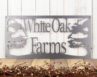 Custom Metal Sign | Oak Tree | Personalized Sign | Outdoor Sign | Custom Sign | Rustic | Metal Wall Art | Silver Vein is shown