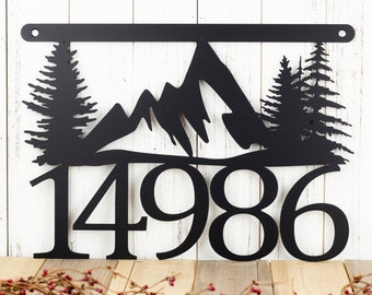"House Number Plaque with Mountains and Pine Trees | Metal Sign | Cabin Signs | Lake House Decor | Rustic | Matte Black shown | 17""x12"""