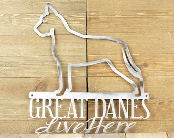 Great Dane Metal Wall Art   Metal Sign   Outdoor Sign   Dog Sign   Pet   Metal Wall Decor   Wall Hanging   Dog Decor   Gift