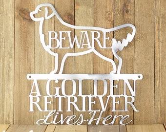 Metal Laser Cut Sign - Golden Retriever Gifts - Beware Of Dog Sign