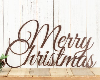 Merry Christmas Metal Sign, Farmhouse Christmas, Rustic Christmas Decor, Outdoor Metal Wall Art