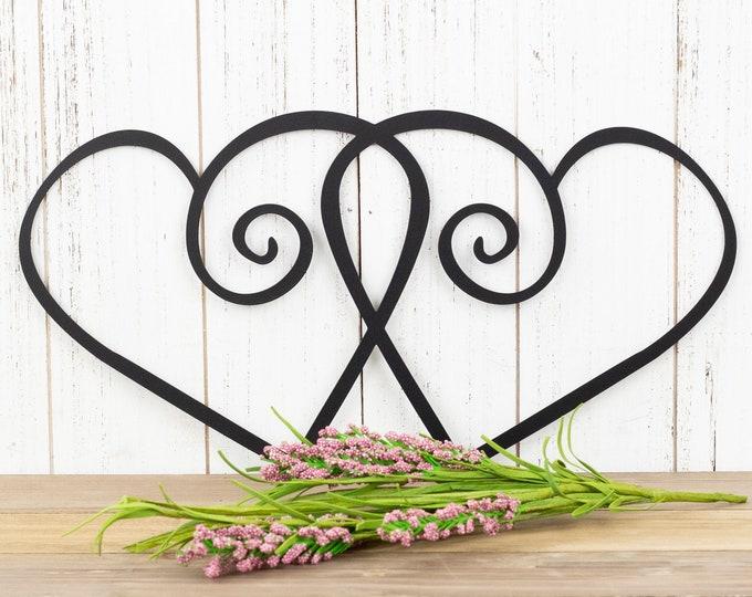 Hearts Metal Wall Art - Black, 15x7.5,  Metal Wall Art, Home Decor, Decorative Wall Art, Wall Decor, Wall Art, Heart