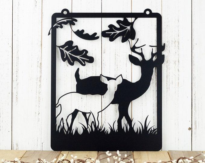 Deer Garden Hanging Metal Wall Art - Black, 12.5x15.5, Metal Sign, Fall Decor, Yard Sign, Outdoor Art, Garden Decor