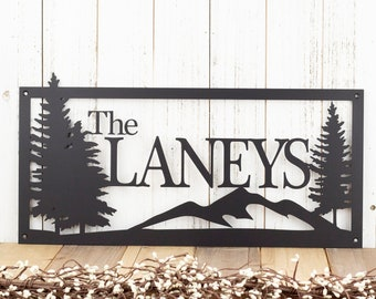 Custom Metal Sign | Last Name Sign | Family Name Sign | Wedding Gift | Name Sign | Custom Sign | Personalized Sign | Outdoor | Mountains