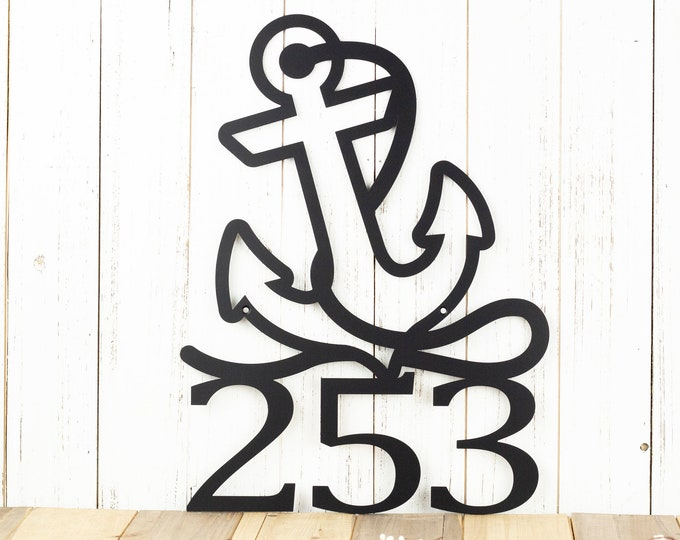 Nautical House Numbers - Metal, Black, 13x17.5, Laser Cut, Beach House, House Number, Address Sign, Nautical Decor, Address