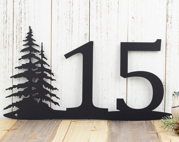 Rustic House Number | Pine Trees | Metal Sign | House Numbers | Address Sign | Address Plaque | Custom Metal Sign | Outdoor | Custom Sign