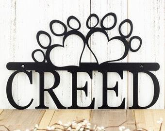 Custom Dog Name Metal Sign with Paw Prints  - Black, 13.5x8.5, Metal Wall Art, Custom Sign, Dog Sign, Outdoor Sign