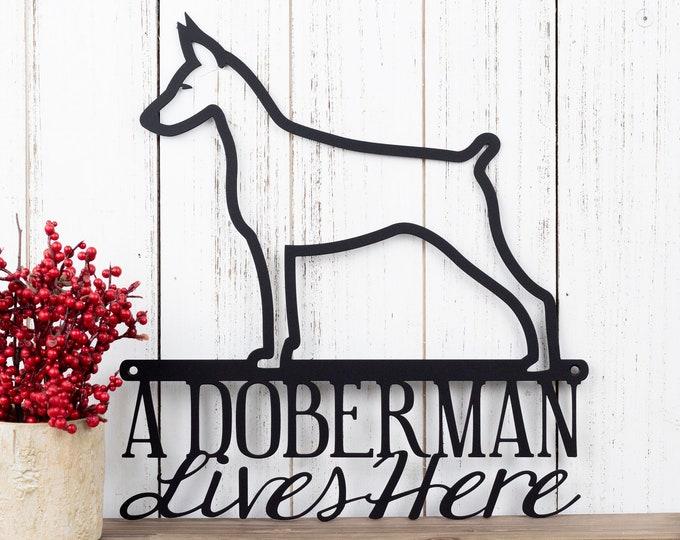 Doberman Metal Wall Art | Doberman Pinscher | Metal Sign | Dog Sign | Outdoor Sign | Doberman Sign | Metal Wall Decor