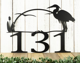 Metal House Number Sign with Heron - Lake House Decor