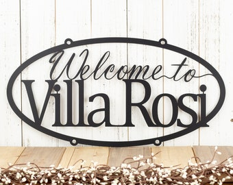 Custom Metal Sign | Welcome Sign | House Sign | Name Sign | Metal Wall Art | Outdoor Sign | Oval Sign | Matte Black is shown