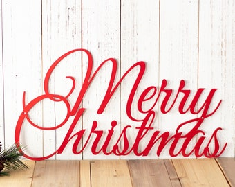 Merry Christmas Sign | Metal Wall Art | Farmhouse Christmas | Christmas Decor | Laser Cut Metal Sign | Holiday Decor | Rustic Christmas