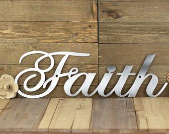 Faith Sign   Steel Signs   Metal Word Art   Christian Wall Art   Farmhouse Decor   Rustic Home Decor   Laser Cut Sign   Raw Steel shown