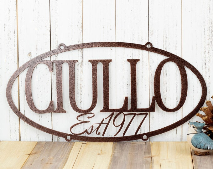 "CUSTOM Family Name Established Year Oval Metal Sign | Black | 20""W x 10""H 