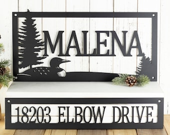 Rustic Custom Metal Sign | Loon | Rustic | Lake House Decor | Address Sign | Name Sign | Custom Sign | Family Name Sign | Rustic Home Decor