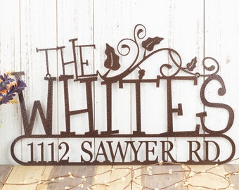 Personalized Family Name Metal Address Sign, Outdoor Custom Laser Cut Steel Plaque with House Number, Housewarming Gift, 20in x 12.5in