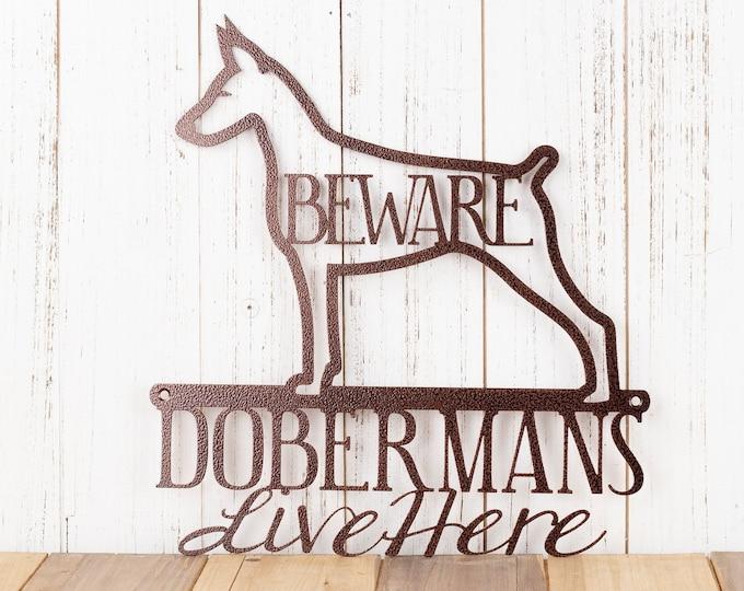 Doberman Metal Wall Art | Doberman Pinscher | Doberman Sign | Metal Sign | Metal Wall Decor | Outdoor Sign | Beware