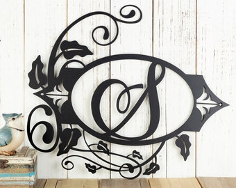Metal Laser Cut Sign - Monogram Metal Sign - Family Letter Sign