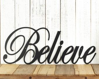 Believe Metal Wall Art | Metal Sign | Christmas Decor | Metal Wall Decor | Sign | Wall Hanging | Outdoor Sign | Inspirational | Wall Art