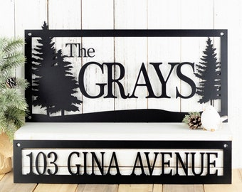 Custom Name and Address Metal Sign | Pine Trees | Outdoor Sign | Metal Wall Art | House Number | Address Plaque | Family Name