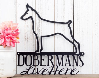 Doberman Metal Wall Art   Doberman Pinscher   Metal Sign   Dog Sign   Outdoor Sign   Doberman Sign   Pinscher   Wall Hanging   Wall Art