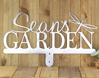 Personalized Garden Name Metal Sign, Mother's Day Gift, Custom Outdoor Metal Plaque, Garden Decor