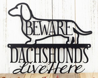 Dachshunds Live Here Metal Sign - Black, 12x9.5, Weiner Dog, Dachshund, Door Sign, Dachshund Gift, Toy Dog, Metal Wall Art