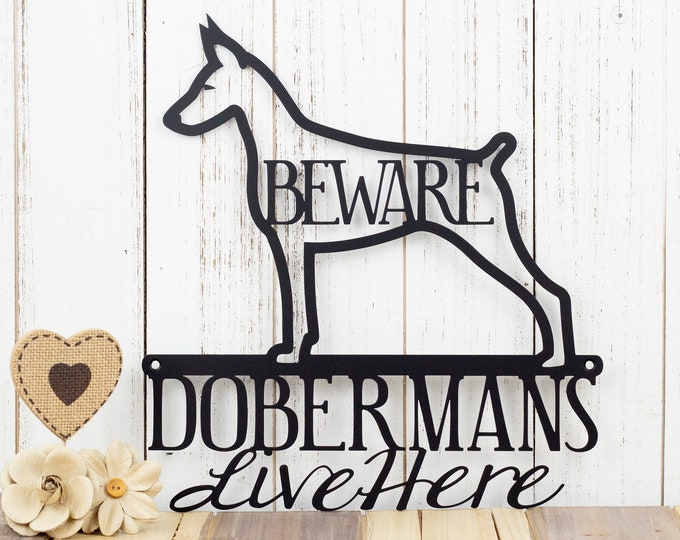 Doberman Metal Wall Art | Doberman Pinscher | Doberman Sign | Metal Sign | Metal Wall Decor | Outdoor Sign | Beware