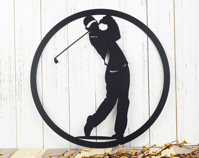 Golfer Metal Wall Art | Golfer Gift | Golf Gift | Metal Wall Hanging | Gift For Him | Metal Wall Decor | Metal Sign | Outdoor