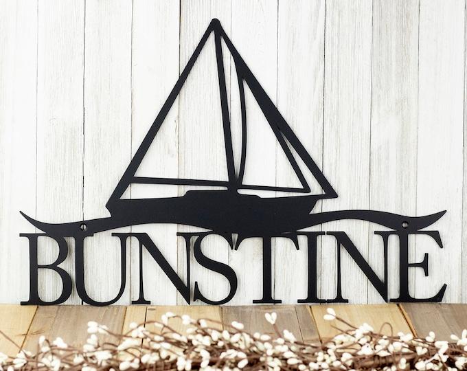 Custom Family Last Name Metal Sign - Black, 18x12, Sailboat, Nautical Decor, Outdoor Sign, Plaque, Sign, Custom Sign