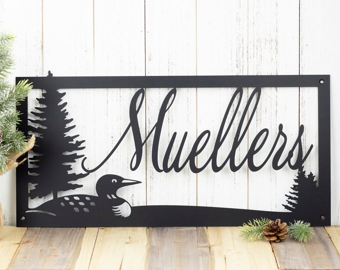 Custom Outdoor Family Last Name Metal Sign with Loon - Black, 20x10, Family Name Sign, Custom Sign, Metal Wall Art