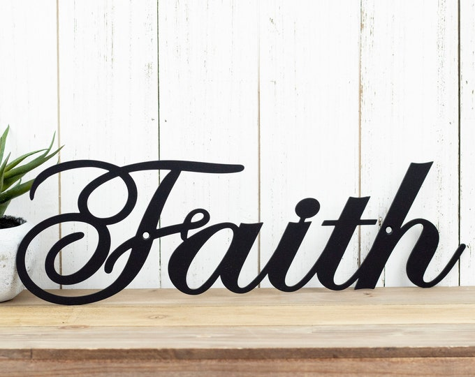 "Faith Metal Wall Art | 14.5""W x 4.5""H 