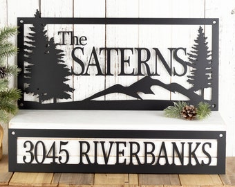 Custom Family Name Sign - House Address Sign - Metal Laser Cut Sign
