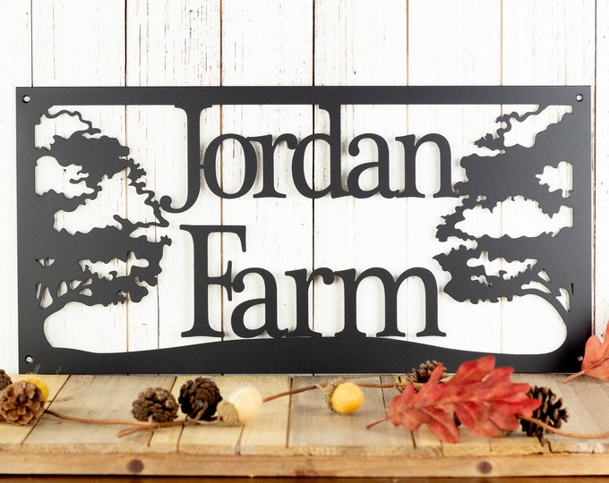 Custom Metal Sign with Oak Trees | Metal Wall Art | Outdoor Plaque | Personalized Sign | Family Name Sign | Custom Sign | Rustic Decor