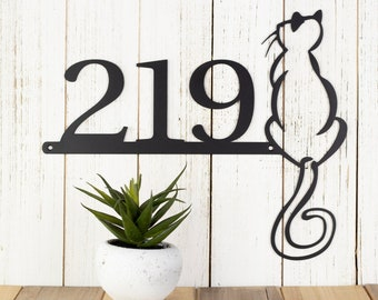 Metal House Numbers Outdoor Sign with Cat | Cat Lover Gift | Address Sign | Laser Cut Metal Sign | Personalized Sign | Custom Sign