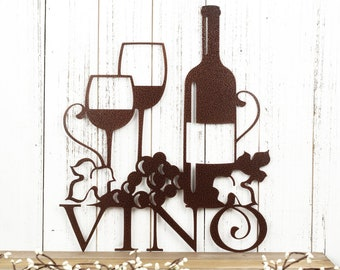 """Wine Wall Decor   Vino Sign with Grapevines   Wine Lover Gift   Wine Sign Bar   Wine Signs for Kitchen   Copper Vein shown   13""""x15"""""""