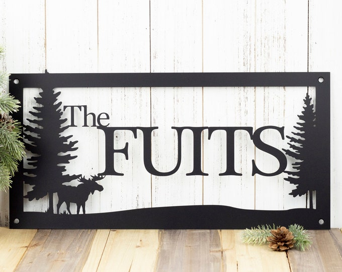 Custom Outdoor Family Last Name Metal Sign with Pine Trees  - Black, Moose, 20x10, Custom Sign, Name Sign, Metal Art