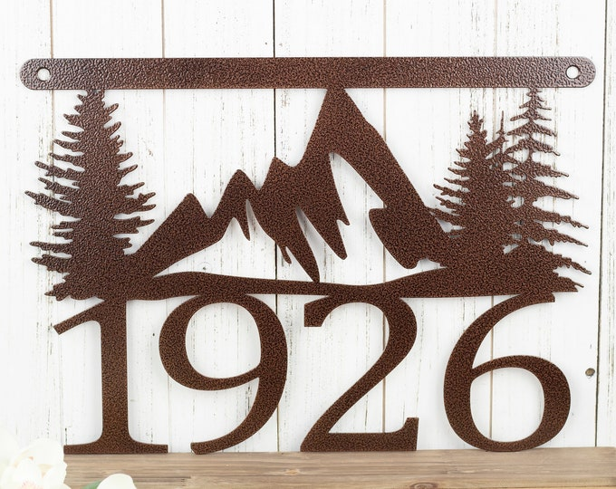 Custom Metal House Number Sign with Mountains, Outdoor Address Plaque, Rustic Home Decor, Housewarming Gift