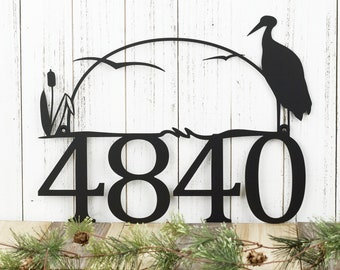 """House Number Plaque in Laser Cut Metal with Heron & Cattails 